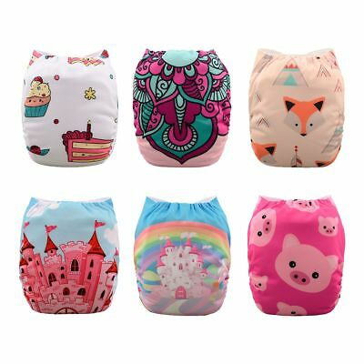 6 Babygoal Cloth Diapers One Size Girl Reusable Pocket Diapers+ 10 inserts In US