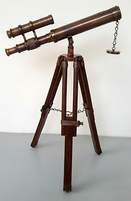 Nautical Antique Navy Brass Telescope With Wooden Tripod Christmas Gift