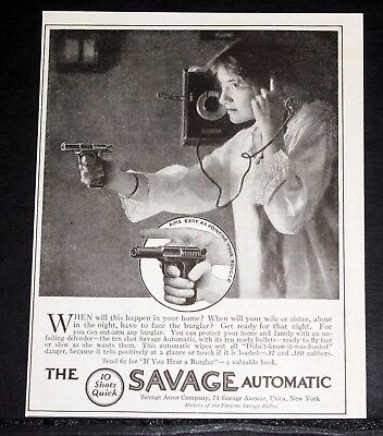 1914 Old Magazine Print Ad, Savage 10 Shot Automatic, Your Wife Or Sister Alone!