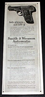 1914 Old Magazine Print Ad, Smith & Wesson Automatic Pistol, It's Doubly Safe!