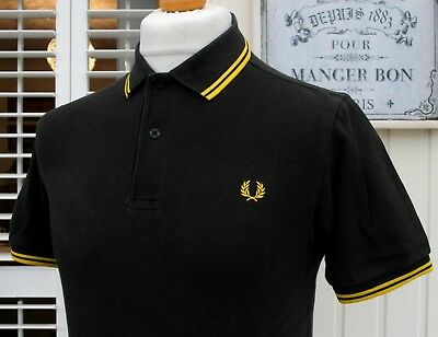 Fred Perry M1200 Black Twin Tipped Polo - S/M - Casuals Ska Mod Scooter Skins