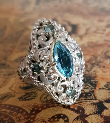 Elizabethan Style, Blue Topaz Ring, Size 7 US, Sterling Silver