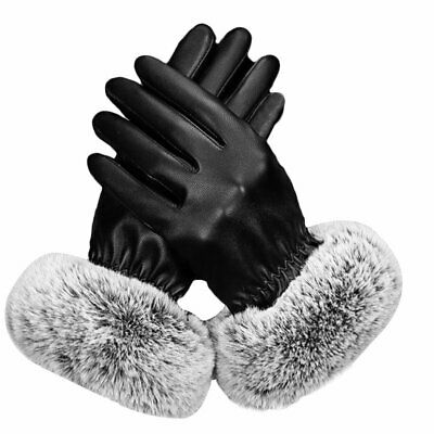 Ladies Womens Touch Screen Winter Gloves Soft Warm Leather Winter Terry Mittens