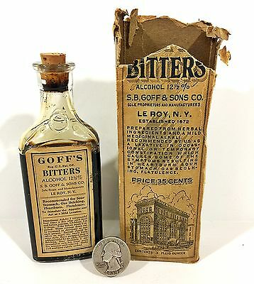 Antique S.B. GOFF'S BITTERS Medicine BOTTLE & Original BOX Le Roy NY