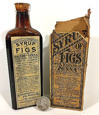 Antique CALIFORNIA FIG SYRUP BOTTLE & Original BOX Elixir Of Senna Full
