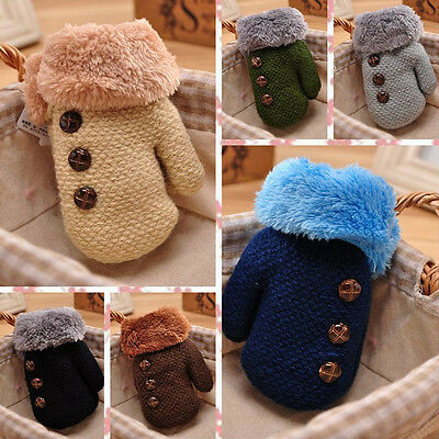 Cute Toddlers Girl/Boy Baby Kids Knitting Plush Gloves Mittens Warm Winter NEW