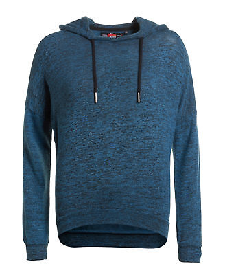 New Womens Superdry Factory Second Fashion Lite Hoodie Blue Grit/Black
