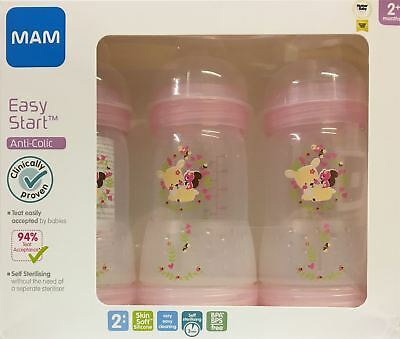 MAM Easy Start Anti-Colic Bottles 260ml 2+ Months Pink 3 Pack