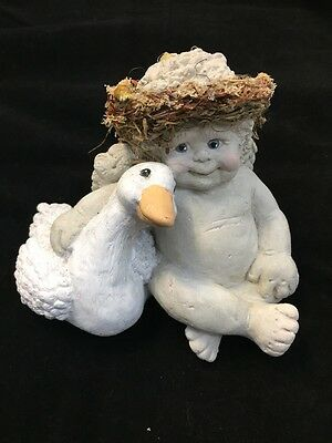 "Dreamsicle Angel Cherub With Duck 4.5"" Tall Signed Kristin"