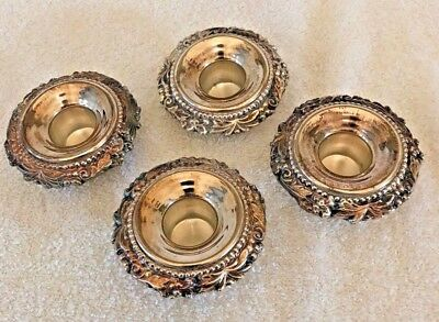 Antique Candlestick Collar, Bobeche Protectors Silver Plate, Set of 4