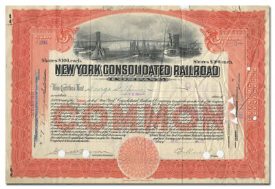 New York Consolidated Railroad Company Stock (Brooklyn Bridge Vignette)