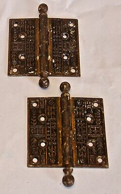 Set of Two Vintage ORNATE Turn of the Century Copper Door Hinges