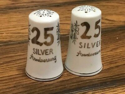 Salt & Pepper Shakers China 25th ANNIVERSARY White Silver A4-1