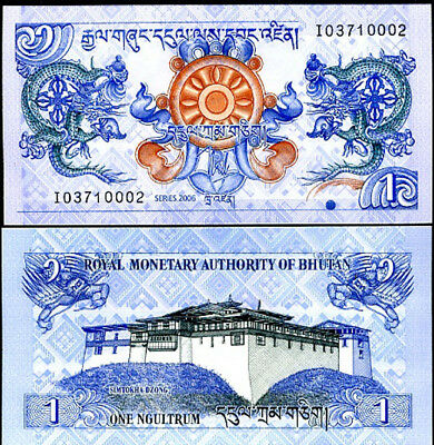 Bhutan 1 Ngultrum 2006 P 27 Unc Lot 5 Pcs