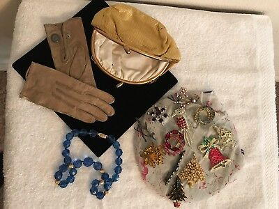 Costume Jewlery/Snap Purse/Childrens Leather Gloves-LOT