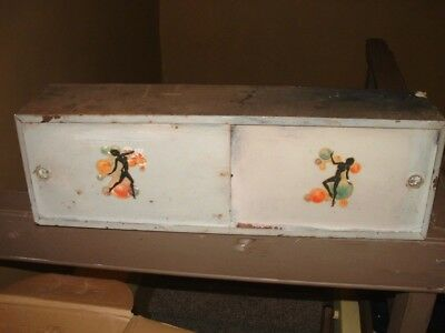 "Vtg. METAL Wall Mounted 24"" BATHROOM CABINET/SHELF meyerchord woman decals40-50s"