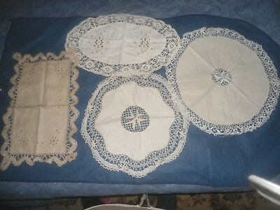 4 Gorgeous Lace Edged Table Centre Mixed Sizes And Styles