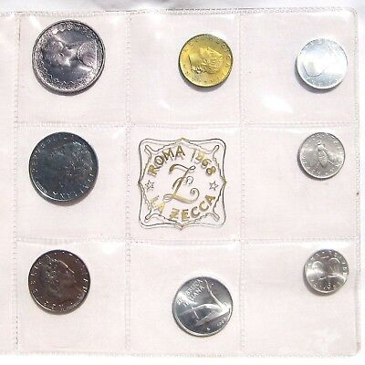 1968 ITALY ROMA LA ZECCA 8 COIN MINT SET, Includes 1 Silver Coins - SEALED*
