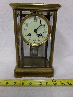Antique brass shelf clock beveled glass France French