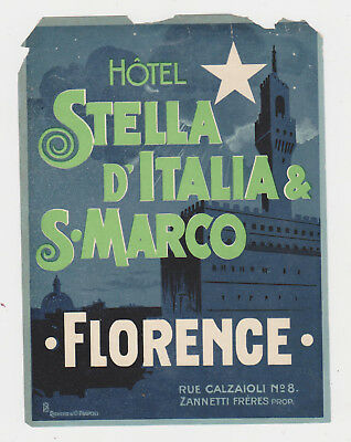 Vintage Luggage Label Hotell Stella D, Italia & S.Marco  Florence