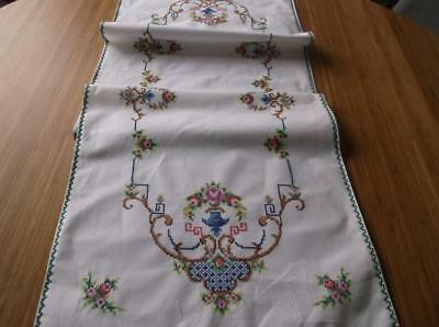 ~ Vintage RUNNER~ Colourful Cross Stitch Emb.~