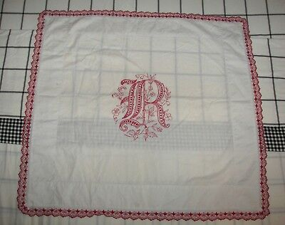 "Antique Red Work Turkey Work Pillow Square Scallop Edge Initial ""r"" French Doll"