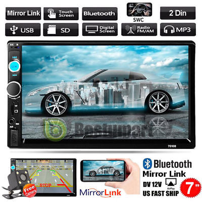 "7"" 2 Din In-dash Bluetooth Touch Screen Car Stereo MP3 FM Radio Player+Camera"
