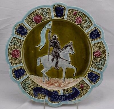 Antique-French-Majolica-Fives-Lille-Joan-Of-Arc-Plate-1900  Antique-French-Majo