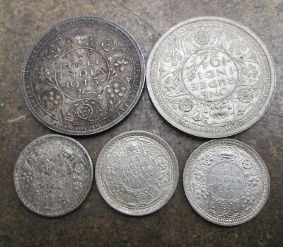 Small Lot of 1940's British India Silver Coins No Reserve