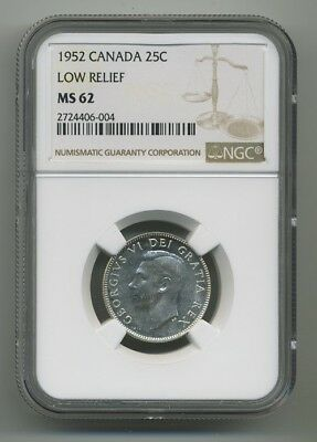"1952 Canada Twenty Five Cents ""Low Relief"" NGC MS-62"