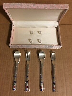 Antique 800 Silver Sterling Flatware Set Painted Floral Forks and Spoons