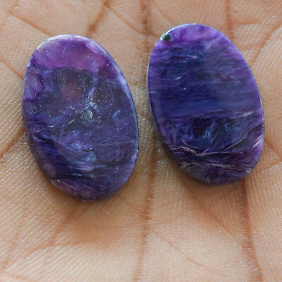 25.3Cts 100% Natural Charoite Pair Fancy 22X15 Cabochon Loose Gemstone