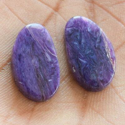 18.4Cts 100% Natural Charoite Pair Oval 20X12 Cabochon Loose Gemstone