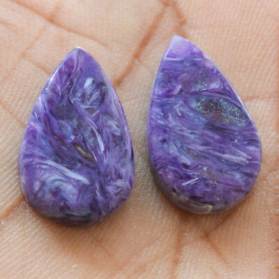 21.5Cts 100% Natural Charoite Pair Fancy 20X13 Cabochon Loose Gemstone