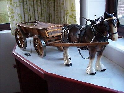 Large Melba Ware Horse with Yorkshire Cart