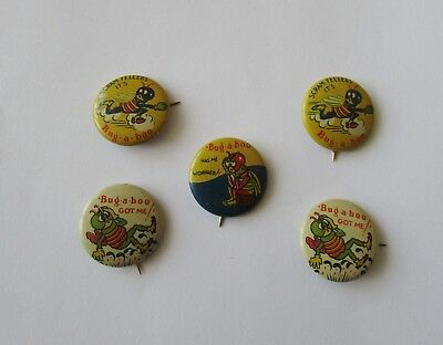 5 Vintage Bug a Boo Pinbacks Socony Mobil Oil Product Bug Pin