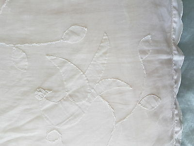 Vintage Large White Square Feather Pillow Cushion with Hand Embroidered Cover
