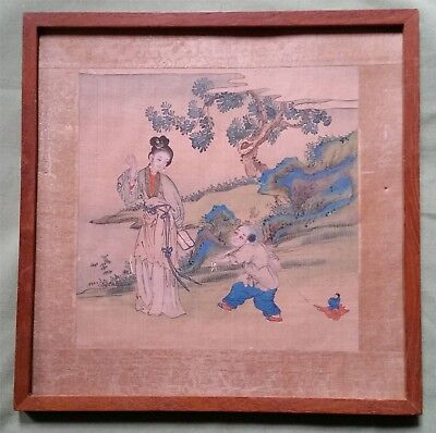 Antique Chinese Painting on Silk, beautiful Woman and Child pulling a toy