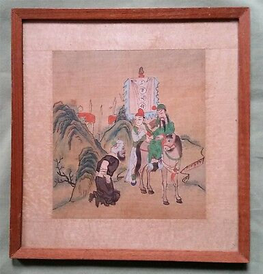 Antique Chinese Painting on Silk, Warriors on Horse etc