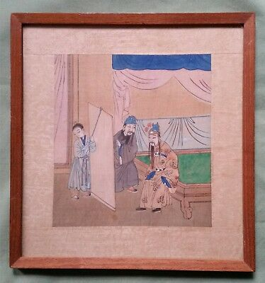 Antique Chinese Painting on Silk, Figures in a Palace