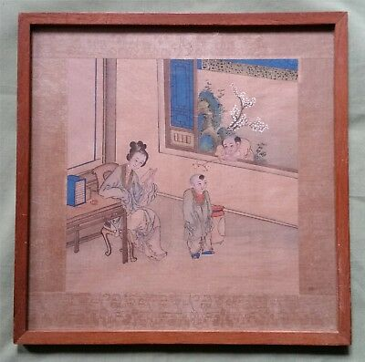 Antique Chinese Painting on Silk, two Children and a Woman