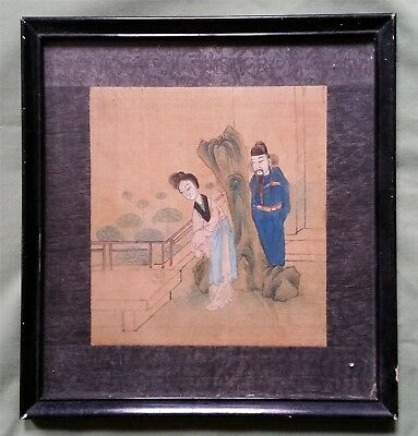 Antique Chinese Painting on Silk, Man and Woman in Garden with Censor