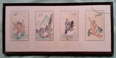 4 Antique Chinese Painting on Silk, mythical figures fighting Animals, Lion,Fish