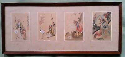 4 Antique Chinese Painting on Silk, Figures in Nature