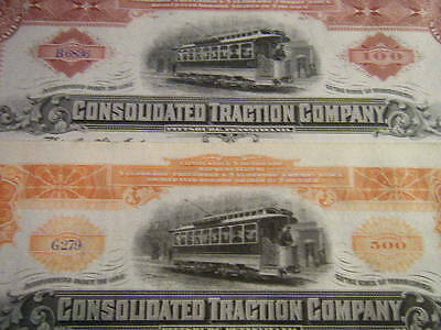 Consolidated Traction Co of Pittsburgh PA CRISP unissued signed 1890/1900s certs
