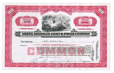 North American Light and Power Company BEAUTIFUL Canceled 1940s 100 share cert.