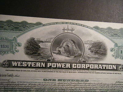 WESTERN POWER CORP Pair of beautiful CRISP unissued 1900s certificates WOW WOW