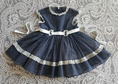 Vintage Baby Girls Toddler Navy Blue Dotted Sheer Party Dress Childrens Clothes