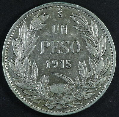 1915 Chile 1 Peso Silver Coin