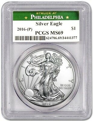2016 (P) $1 Silver Eagle PCGS MS69 STRUCK AT PHILADELPHIA Green Label NEW ITEM!